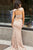 Two Piece Crew Sweep Train Blush Lace Open Back Prom Dress with Sequins Q30