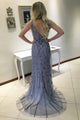 Mermaid V-neck Sleeveless Sweep Train Blue Backless Prom Dress with Beading Appliques LPD35 | Cathyprom