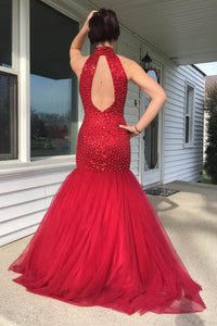 Luxurious High Neck Open Back Floor-Length Red Mermaid Prom Dress with Sequins Pearls LPD58 | Cathyprom