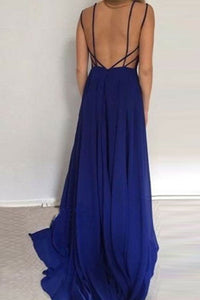 A-Line Straps Sweep Train Navy Blue Backless Satin Prom Dress P8