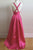 A-line Deep V-neck Criss-Cross Straps Floor Length Rose Pink Prom Dress with Pleats LPD27 | Cathyprom