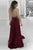 A-Line Halter Backless Burgundy Satin Prom Dress with Split L55 | Cathyprom