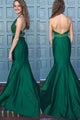 Mermaid Halter Sleeveless Sweep Train Backless Green Prom Dress with Lace Beading P84 | Cathyprom