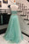 Two Piece A-line Halter Backless Long Mint Prom Dress with Beading Pearls P79 | Cathyprom