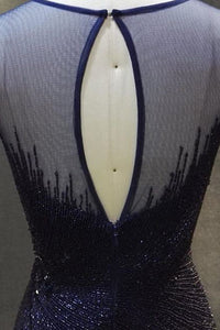 Mermaid Jewel Open Back Sweep Train Navy Blue Prom Dress with Beading P74 | Cathyprom