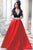 A-line  Red V-neck Short Sleeves Sweep Train Pleated Prom Dress P55