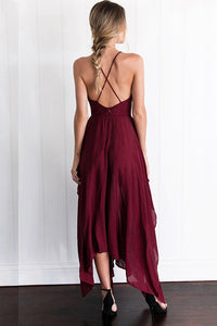 A-line Deep V-neck Burgundy Chiffon Sweep Train Split-side Prom Dress P48