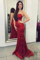 Mermaid Crew Neck Sweep Train Red Prom Dress with Appliques OHC049 | Cathyprom