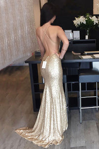 Mermaid Spaghetti Straps Sweep Train Criss-Cross Straps Gold Sequined Prom Dress P31