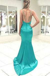 Mermaid Deep V-Neck Backless Sweep Train Turquoise Prom Dress OHC054 | Cathyprom