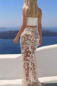Two Piece Strapless Floor-Length White Lace Prom Dress OHC056 | Cathyprom