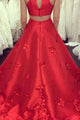 A-Line Jewel Sweep Train Red Satin Open Back Cut Out Appliques Pockets Prom Dress L29