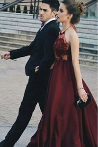 A-Line Halter Backless Floor-Length Burgundy Prom Dress with Appliques OHC059 | Cathyprom