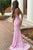 Mermaid Deep V-Neck Backless Lilac Lace Prom Dress with Beading OHC016 | Cathyprom