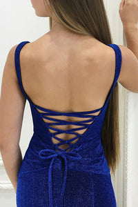 Mermaid Deep V-Neck Sweep Train Navy Blue Velvet Lace Up Prom Dress Z42