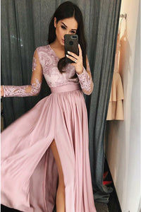 A-Line V-Neck Long Sleeves Sweep Train Pink Prom Dress with Appliques Split Z18