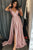 A-Line V-Neck Sweep Train Pink Prom Dress with Pleats Split OHC558
