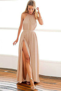 A-Line Halter Backless Floor-Length Blush Prom Dress with Pleats OHC065 | Cathyprom