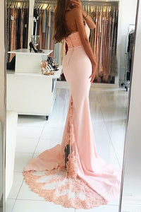 Mermaid High Neck Sweep Train Pink Satin Prom Dress with Beading Lace P11