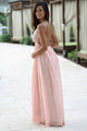 A-Line Spaghetti Straps Floor-Length Backless Pink Chiffon Prom Dress with Lace P9