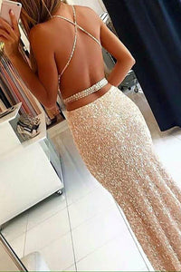 Mermaid Square Criss-Cross Straps Champagne Sequined Prom Dress with Beading Q100