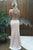 Mermaid Crew Sweep Train Beige Stretch Satin Open Back Prom Dress with Beading Q94
