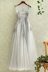 A-Line Crew Floor-Length Grey Sleeveless Tulle Prom Dress with Appliques Q92