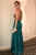 Mermaid Cross Neck Floor-Length Dark Green Satin Prom Dress with Beading Q91