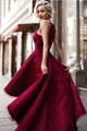 A-Line Halter High Low Asymmetrical Burgundy Lace Sleeveless Prom Dress with Ruched Q90