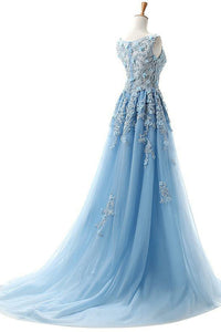A-Line Bateau Court Train Sleeveless Blue Tulle Prom Dress with Appliques Q81