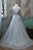 A-Line V-Neck Sweep Train Grey Tulle Prom Dress with Appliques Q76