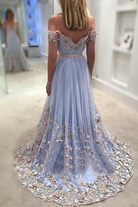 A-Line Off-the-Shoulder Sweep Train Blue Tulle Prom Dress with Appliques L3