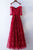 A-Line Off-the-Shoulder Floor-Length Half Sleeves Dark Red Lace Prom Dress Q75