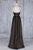 A-Line Deep V-Neck Sweep Train Black Tulle Backless Prom Dress Q72