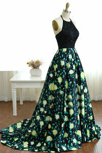 A-Line Halter Sweep Train Black Printed Satin Prom Dress with Beading Q70