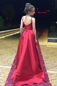 A-Line V-Neck Sweep Train Red Satin Sleeveless Prom Dress with Ruched Q67