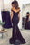 Mermaid Off-the-Shoulder Black Stretch Satin Prom Dress with Sequins Q61