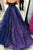 A-Line Halter Court Train High Low Royal Blue Tulle Beaded Ruffles Prom Dress Q58