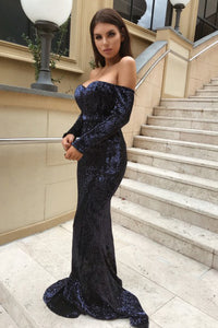 Mermaid Off-the-Shoulder Long Sleeves Navy Blue Sequined Prom Dress L40 | Cathyprom