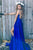 A-Line Scoop Split Side Royal Blue Criss-Cross Straps Satin Prom Dress Q50