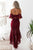Two Piece Off-the-Shoulder Backless High Low Burgundy Lace Prom Dress OHC010 | Cathyprom
