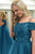Ball Gown Off-the-Shoulder Sweep Train Dark Blue Tulle Prom Dress with Beading Q46