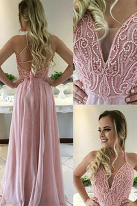 A-Line V-Neck Sweep Train Criss-Cross Straps Pink Chiffon Prom Dress with Beading Q37