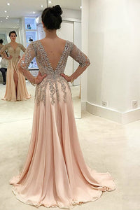 A-Line Deep V-Neck Long Sleeves Split Pink Tulle Backless Prom Dress with Beading Q31