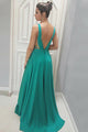 A-Line Deep V-Neck Sweep Train Green Satin Backless Prom Dress with Appliques C22