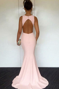 Mermaid Jewel Sweep Train Pink Satin Cut Out Sleeveless Prom Dress Q23