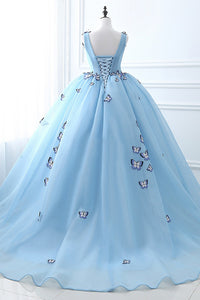 Ball Gown Deep V-Neck Court Train Blue Tulle Prom Dress with Appliques Q20