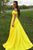 A-Line Off-the-Shoulder Swewep Train Yellow Satin Sleeveless Prom Dress with Pockets Z11