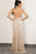 A-Line Deep V-Neck Sweep Train Split Criss-Cross Straps Champagne Prom Dress with Sequins Z28