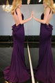 Memraid Crew Sweep Train Grape Satin Backless Sleeveless Prom Dress with Ruffles C13